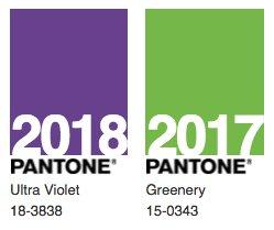 Barvy roku 2017 a 2018 stanovené společností Pantone.